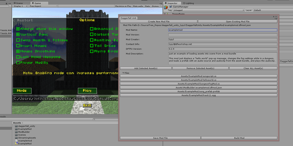 editor window for modding